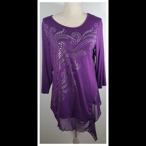 B. L. E. U. Purple Embellished Blouse